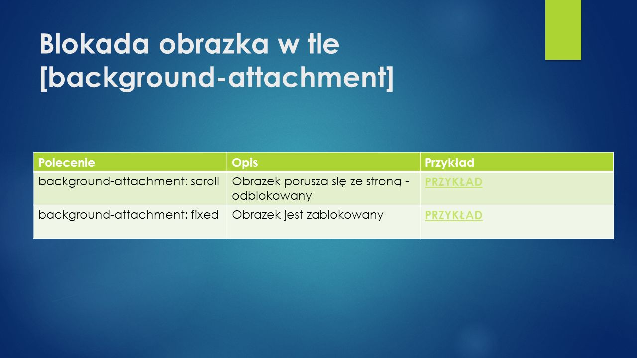 Blokada obrazka w tle [background-attachment]